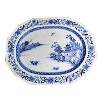 Qing Dynasty Chinese Porcelain Tray with Hand Painted in Cobalt Blue 1760