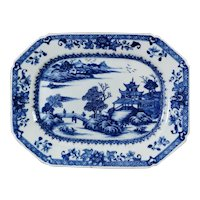 Qing Dinasty Chinese Porcelain Tray With Hand Painted In Cobalt Blue 1760