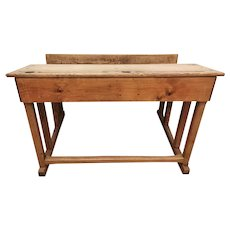 Italian School Desk in Solid Oak, 1890