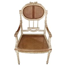 """Louis XVI Style French Lacquered Back and Seat with """"Vienna Straw"""" 1850"""