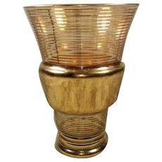 20th Century Gold Leaf Glass Vase France, 1947