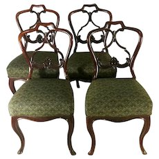 """Biedermeir Chairs (set 4 pcs.) Danish Mahogany With """"Needle Point"""" Seat"""