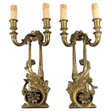 Louis XVI Style French Pair of Appliques in Gilded Bronze 1870