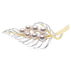 Floral Japanese Saltwater Akoya Pearl Brooch- 18K Yellow Gold Sterling Silver