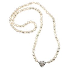 Heart Mid-Century Cultured Akoya Pearl Strand - 14K White Gold 25 Inch