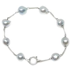 Japanese Blue Saltwater Akoya Cultured Pearl Chain Bracelet- Sterling Silver