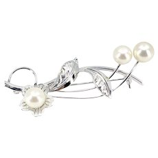 Sakura Cherry Blossom Japanese Akoya Cultured Saltwater Pearl Brooch- Sterling Silver