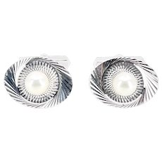 Mid-Century Modern Japanese Cultured Akoya Pearl Round Radial Cufflinks- Sterling Silver