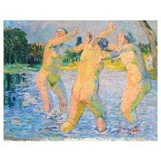 """Beneš (Benedikt Julius) Knüpfer - (Czech 1844-1910) Dipinto ad'olio """"Ninfe gioccando sull'acqua"""" 91.5x74cm Firmato ca. 1905"""