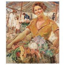Ekaterina N. Kačura-Falileeva (Russian 1886-1948) Gorgeous Original O/C signed, 92.5x101cms, ca. 1912 (Capri)