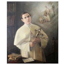 Emma Gaggiotti Richards (Roma, 1825 – Velletri, 1912) Original Oil in Canvas (96x78cm) signed and dated -1905 -  Saint Damien De Veuster (Molokai). Important late piece!