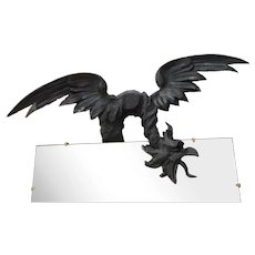 Spectacular Antique Mirror (1895 ca.) carved Griffin/Dragon. Oriental Asianism. Attrbuited to Gabriel Viardot / Bartolomeo Bersabel