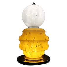 Large Murano glass table lamp by AV Mazzega - Italy 1970's (76x39cm) Gorgeous!