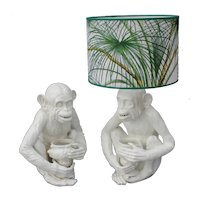 (PAIR) of Hollywood Regency Ceramic Monkey - Table Lamp (67 x 35 x 35cm overall) + Jardiniere (41 x 26 x 32cm) Original mint condition with upgrades.