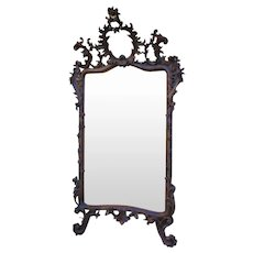 Baroque mirror, ca.1915 (132x75x22cm) - Antique piece  with rich carving in soft Wood, scrolls carved and flowers with mirror