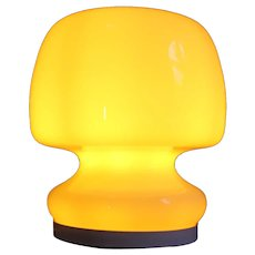 Murano glass / aluminum late 60's base table lamp by Gino Vistosi. 19x17x14cm - Mint condition (White glass, yellow lamp)