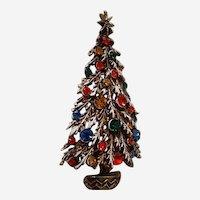 Vintage Signed Art Christmas Tree Brooch