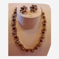 Vintage Crown Trifari Necklace and Earring Set Simulated Pearls and amber rhinestones