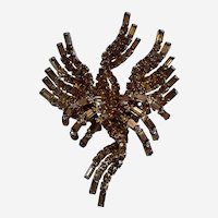 Vintage Hattie Carnegie Gorgeous  Large Gold/Bronze Color Rhinestone Brooch Baguette and Round Rhinestones