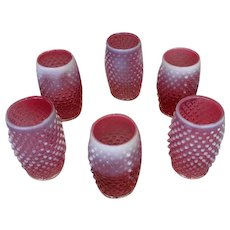 Fenton Cranberry Hobnail Set of 6 Tumblers Cranberry and Opalescent Water Glasses