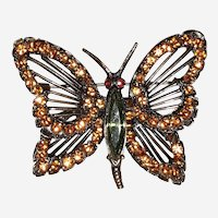 Weiss Jewelry Butterfly Brooch Signed Orange Rhinestones, Green Rhinestone Body Copper tone Frame