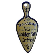 Antique Navarre Golden Sun Advervistement Scoop Cut Metal Blue & Cream