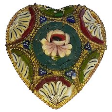 """Vintage Micro Mosaic Heart Shape Brooch Marked Italy Gold Tone Frame Several Colors Floral Design 1"""" by 1"""" in  size"""