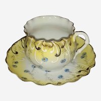 Beautiful Vintage Porcelain Cup & Saucer, Yellow and white, Blue Flowers Ruffled edge, Thin Porcelain, Unsigned