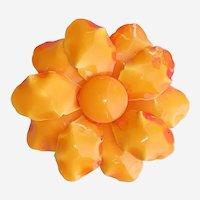 "Vintage Large Orange Enamel Flower Brooch 3 1/2"" Double Petaled"