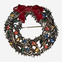 Vintage Art Christmas Wreath Brooch Signed ART on backside Rhinestones Enamel Red Bow