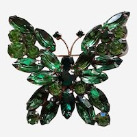 Beautiful Green Rhinestones Butterfly Brooch Two Colors Green Gold tone Frame