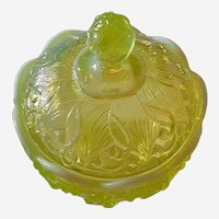 Fenton Vaseline Glass Opalescent Candy Dish with Cover Flower Pattern, Marked Logo