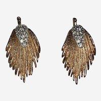 Vintage Gold tone Leaf Design with Rhinestones Clipback Earrings Pat.196453