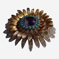 Vintage Layered Medium Costume Jewelry Brooch with Rhinestones, small beads, Gold tone, Silver tone, Amethyst Stone