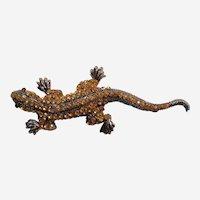 Vintage Rhinestone Lizard Brooch