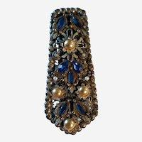 Antique Thief of Baghdad Korda Dress Fur Clip Blue Stones, Fancy Silver Tone Fame, Faux Pearls