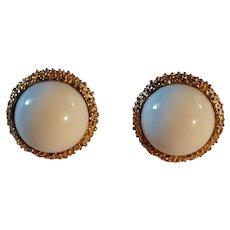 Vintage Crown Trifari Earrings Milk Glass, Gold Color Frame Marked