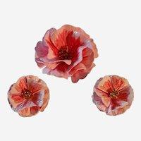 Vintage Crown Trifari Enamel Brooch and Earrings Set Pink Flowers  Marked