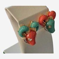 Vintage Hattie Carnegie Thermoplastic Earrings Rams Heads Two Earrings Two Different Colors