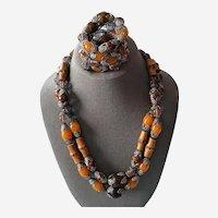 Vintage Hobe Double Strand Necklace and Matching Bracelet