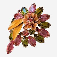 Vintage Alice Caviness Brooch Pink Green Gold Color Gorgeous! Signed