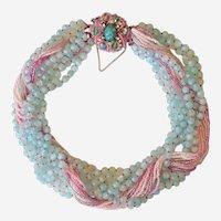 Magnificent Rare Vintage Ornella Italian Multi Strand Beaded Necklace Signed Designer Necklace