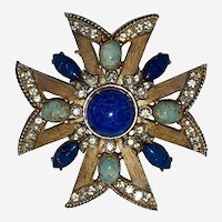 Fabulous Vintage Maltese Cross Brooch Dark Blue and Robin Egg Blue Stones and Clear Rhinestones Set in Gold Color Frame