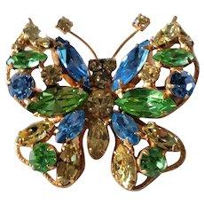 Vintage Regency Rhinestone Brooch Butterfly Marked