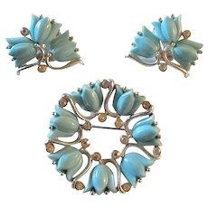 Vintage Kramer Brooch & Matching Earrings Blue Tulips & Rhinestones Marked