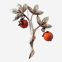 "Vintage Tortolani Brooch Branch w  Orang Art Glass Dangling Fruit Signed 3 1/8"""