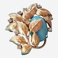 Vintage Designer Jomaz Brooch Blue Cabochon Stone Rhinestones