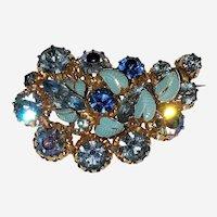 Vintage Austria Blue Rhinestone and Enamel Leaves Brooch