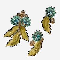 Vintage Hobe Brooch & Earring Set Enamel and Aqua Marine Rhinestones Signed