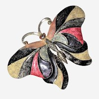 Les Bernard Multi Colored Butterfly Brooch Large Very Colorful Signed